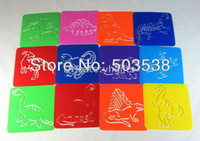 Wholesale 12PCS Dinosaur stencil Art template Birthday gift Kindergarten toy PP drawing stencils Dinosaur crafts x12 x0 cm