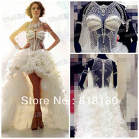 Ball Gown Reference Images Scalloped WD-152 Hot Sexy Real Model Transparent Sleeveless Short Front Long Back Big Flower Big Crystal Stones Princess Wedding Dress
