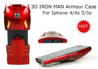 Wholesale 20pcs New style D Iron man armour back cover case for iphone s mobile phone case hard cell phone case for iphone4s