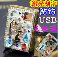 Wholesale USB charging lighter grade diamond custom smokeless cigarette lighter windproof lighter diamond diamond beauty essential