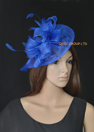 ROYAL BLUE sinamay fascinator hat feather fascinator for ascot races,melbourne cup,kentucky derby,wedding and party.