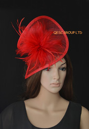 Red sinamay fascinator with feathers for wedding,melbourne cup,ascot races,Kentucky Derby,races