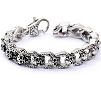 Wholesale Men s Women s Punk Gothic Emo Harley Biker Skull Silver Stainless Steel Bracelet for birthday gifts