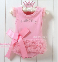 Wholesale New Retail cute fashion Baby romper Girl s Wear The lovely princess pink bow lace Romper baby clothes 407