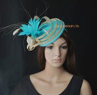 Wholesale Turquoise blue Sinamay hat fascinator mini hat w feather rhinestone for Derby wedding races ascot races kentucky derby melbourne cup