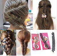 Wholesale 20 X French hair braiding tool roller with hook Magic hair Twist Styling Bun maker Braider JH03013