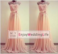 Wholesale 2014 New Sexy Sheer Cap Sleeves Peach Chiffon Prom Dresses Floor Length Floral Lace Applique Junior Bridesmaid Dresses CPS022