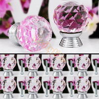 Cheap 2014 New 8 Pcs Glass Crystal Cabinet Drawer Furniture Knob Kitchen Pull Handle Door Wardrobe Hardware 30mm Clear Pink #6 TK0739