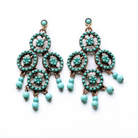 Wholesale 2014 exquisite beads alloy spikelet luxury retro fashion drops chandelier earring for women E09