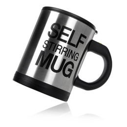 Wholesale Automatic Electric Self Stirring Mug Coffee Mixing Drinking Cup Stainless Steel ml black color H9941