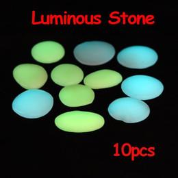 Wholesale 10 Luminous Pebble Stone Lightweight Blue Green Decoration H8591
