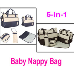 Wholesale 5 in Set Multi Function Baby Diaper Nappy Bag Fashion Mummy Babies Bags Changing Set Handbag Colors H8687
