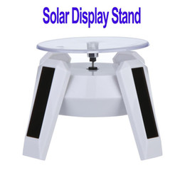 online shopping New White Solar Powered Jewelry Phone Rotating Display Stand Turn Table with LED Light H8736
