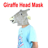 Wholesale Unique Animal Giraffe Head Mask Halloween Costume Party Christmas Theater Prop Latex H9681