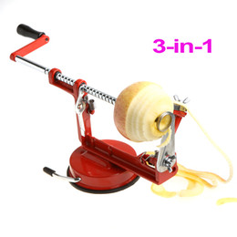 Wholesale 3 in Stainless Steel Fruit Apple Zester Pear Peeler Corer Slicer Suction Base Red Dropshipping H8727