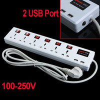 Wholesale 6 Universal Outlet amp USB Charger Port Power Strip Surge Protector Circuit Breaker H9287
