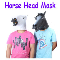 Wholesale White Black Creepy Funny Latex Horse Head Mask Halloween Costume Party Christmas Theater Prop H9492