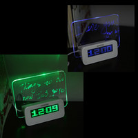 Wholesale LED Temperature Desktop Director Table Clocks Digital Fluorescent Message Board Clock Alarm Calendar Timer USB Hub Green Blue H10374