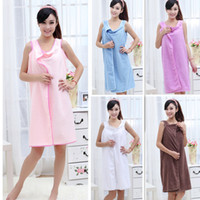 Wholesale Unisex Microfiber Wearable Towel Bathrobe Fast Dry Washclothing Wrap Bath Dress Colors Optional H10090