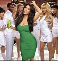 Street Style Silk Strapless Free Shipping 2014 New Celebrity Style Kim Kardashian Khaki Strapless Red Carpet Evening Dress green Bandage Dresses