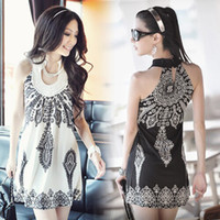 Wholesale 834 women s new fashion europe brand black white vintage totem print sleeveless dress ladies summer mini dresses ice silk