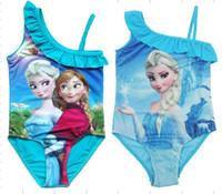 al por mayor correa de un hombro-Congelado Elsa Anna Princesa traje de baño Chicas traje de baño de una pieza traje de baño de la reina de la nieve Un hombro correa traje azul