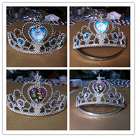 Wholesale Retail Girls Kids Crown Coronation Snow Queen Elsa Princess Anna Tiara Cosplay Costume Party Wedding Hair Decoration Accessories TA01