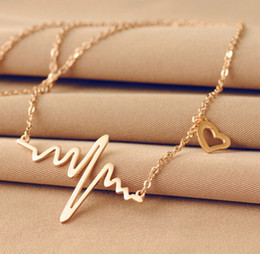 Silver Gold Rose Gold Pick Colour EKG Heart Beat Necklace Heartbeat rhythm with dangling heart Stainless steel