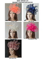 Wholesale Big Sinamay fascinator hat with feather flower for Melbourne Cup Ascot Races kentucky derby wedding coral hot pink navy blue and cream