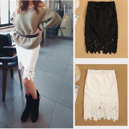 Translucent cotton lace bust skirt medium skirt women vintage stye cutout crotch slim hip basic skirts