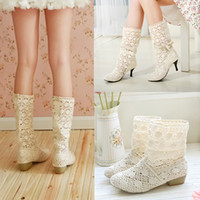 Wholesale women s breathable hollow shoes women ladies spring and autumn fashion cutout low heeled medium leg boots
