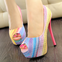 Wholesale Rainbow color women shoes with platform super high heel lady shoes for party club open toe pump sweet colorful dress shoes