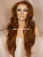 Natural Wave auburn hair highlights - Heat Safe Long Swiss Lace Front Wig Natural Full Wavy Layers Light Auburn highlight Strawberry Blonde Synthetic Wigs