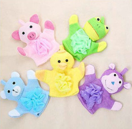 Free Shipping Gloves bath rub child five colors Cartoon style With bath flower toddler 100pcs lot Free FEDEX