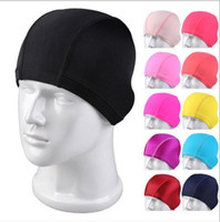 Wholesale High grade lycra swimming cloth bathing cap high grade paper backing board packaging pure color caps swimming caps