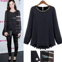 Women Silk None New 2014 Women Ladies Casual Full Sleeve Pleated black Chiffon Shirt Plus Size S-4XL Diamond s Tops For women