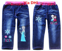 Wholesale Hot Top Summer New Girls Trousers Frozen Elsa Anna Cartoon Kids Embroidered Printing Blue Denim Long Pants Children Jeans Ship Via DHL