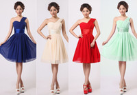 Wholesale 2014 NEW womens bridesmaid wedding one shoulder evening sleeveless pleated formal party Short chiffon red yellow purple dress