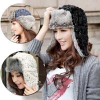 Wholesale women korean winter Knitted Canvas Fur Cotton Earflap Cap warm wool sequins Aviator outdoors Hat apparel amp accessories L03074