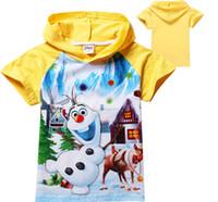 Boy Summer Standard free shipping kids cartoon Frozen olaf t-shirt boys short sleeve hooded t shirts baby cute cotton fashion frozen tees tops in stock
