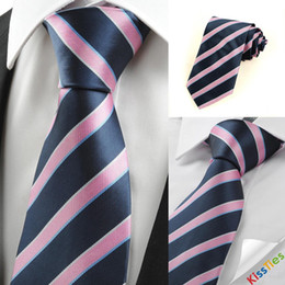 Wholesale New Striped Pink Blue JACQUARD Men s Tie Necktie Wedding Party Holiday Gift