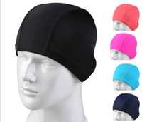 Wholesale new High grade lycra swimming cloth bathing cap high grade paper backing board packaging pure color caps swimming caps