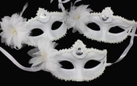 Wholesale Mask Halloween costume party mask for Christmas carnival halloween masquerade dance Venice mask side feather flower