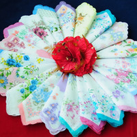 Wholesale Brand new Hot quot Cutter Ladies Viniage Hanky Floral Handkerchief Party Wedding