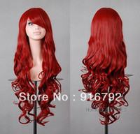 "Red Synthetic Hair Wig,Half Wig FREE SHIPPING >>32"" Heat Resistant Hair 80cm Long Cosplay Party Spiral Curly full Wigs Dark Red"
