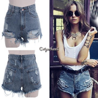 Shorts Women Capris freeshippping women punk rock fashion street vintage grunge ripped hole water wash retro high waist sexy denim shorts jeans pant