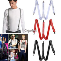 Wholesale Drop New Fashion Color Adjustable Clip on Y back Suspenders Elastic Trouser Braces For Women Men SV004526