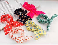Wholesale Korean cute rabbit ears ring dot fabric hair accessories hair ornaments hair Polka Dot tie rope Korean flower jewelry