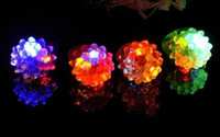 big fashion rings - New fashion LED Flashing Strawberry Finger Ring Bar DJ Rave Toys Light Up Elastic Rubber Blinking Ring for Halloween Christmas Party supply