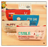 Fabric Pencil Bag Mixed Color Fashion Keroan Smile Pastoral Sackcloth Pencil Pen Makeup Case Canvas Stationery Bag